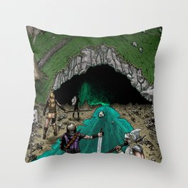 Party Approaching Cave Throw Pillow