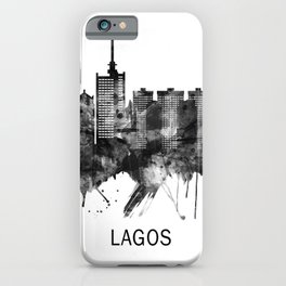 Lagos Nigeria Skyline BW iPhone Case