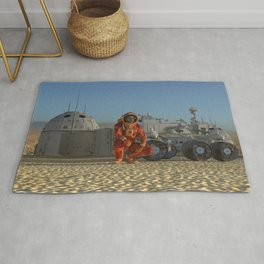 Mars colony. Expedition on alien planet. Life on Mars Rug