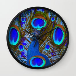 BLUE PEACOCK EYE FEATHERS ART Wall Clock