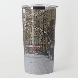 Snowy street Greenwich Village NYC Travel Mug