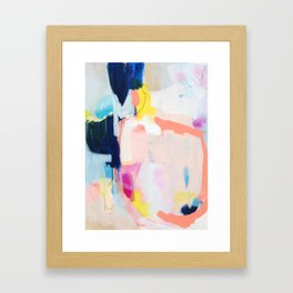 """""""passions 2"""" abstract art in navy, blush, teal, white, and yellow Framed Art Print"""