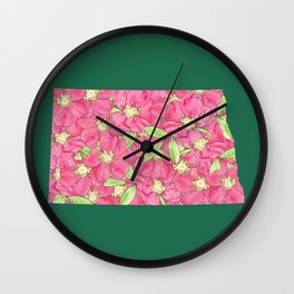 North Dakota in Flowers Wall Clock