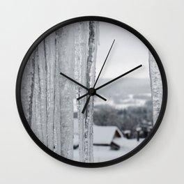 Snow Landscape Through Ice Wall Clock