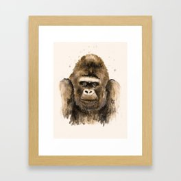 Respect: portrait of a silver back gorilla, handmade watercolor and tea-stained painting. Framed Art Print