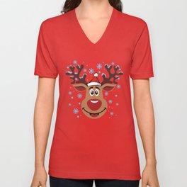 Сheerful deer. Merry Christmas! Unisex V-Neck