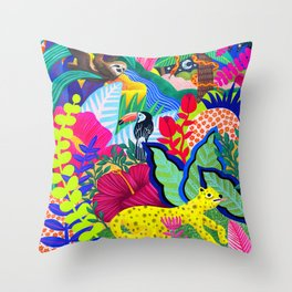 Jungle Party Animals Throw Pillow