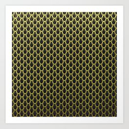 Chain Link Gleaming Golden Metal Pattern Art Print