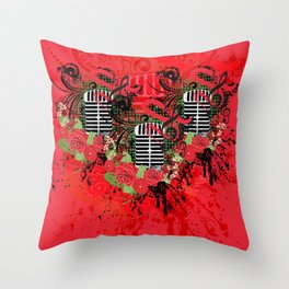 Retro microphone with roses Throw Pillow