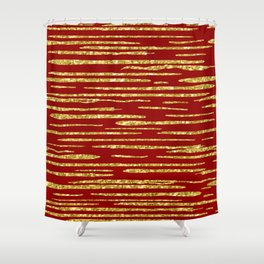 Gold and red abstract lines pattern Shower Curtain