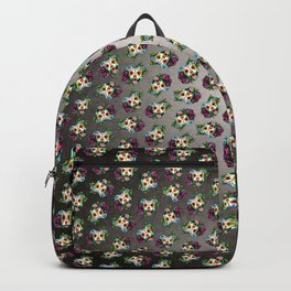 Smiling Pit Bull in White - Day of the Dead Pitbull Sugar Skull Backpack