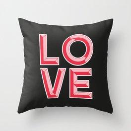 LOVE - Beveled Typography Throw Pillow