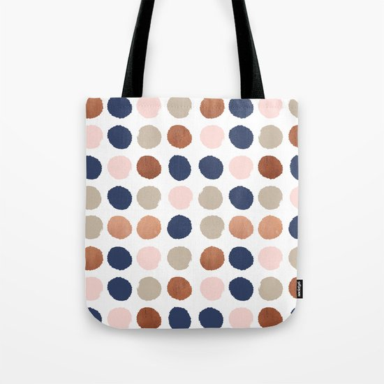 Rose Gold navy copper sparkle modern dots polka dots rosegold trendy pattern cell phone accessories Tote Bag