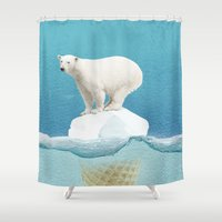 pun Shower Curtains featuring Polar ice cream cap by Vin Zzep
