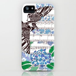Blackbird and Hydrangeas (blackbird and hydragea on sheet music) iPhone Case