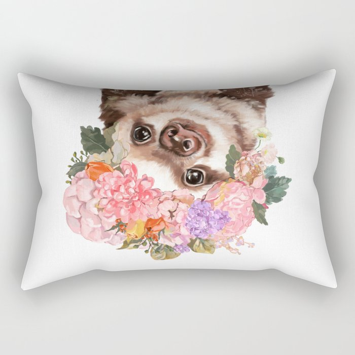Baby Sloth with Flowers Crown in White Rectangular Pillow