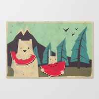 yetiland Canvas Prints featuring I want moaarrr! by Yetiland