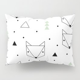 Scandinavian woodland fox forest mint black and Pillow Sham
