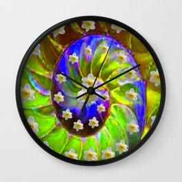 ULTRA VIOLET GREEN GARDEN  SPIRAL &  DAFFODILS ART Wall Clock