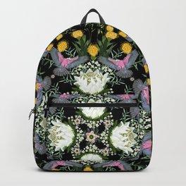 Pink birds mandala in black Backpack