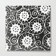 Black and White Swirl Pattern Metal Print