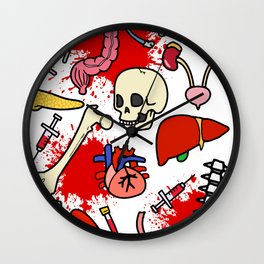 Med School BLOOD BRAINS GUTS AND BRAINS Wall Clock