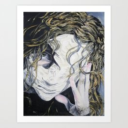 Oil paint on canvas painting of a woman behind a blank mask with a pained eye Art Print