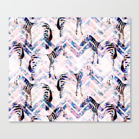 Zebras in bloom Canvas Print