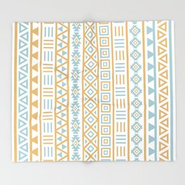 Aztec Influence Pattern Blue White Gold Throw Blanket
