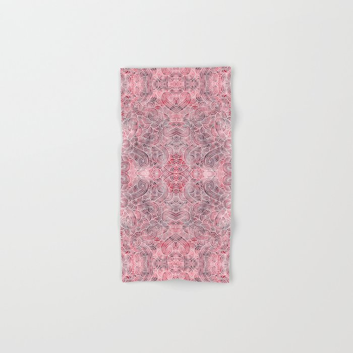 Burgundy red and white swirls doodles Hand & Bath Towel