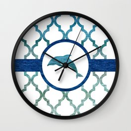 Dolphins: Tropical Water Moroccan Pattern Wall Clock