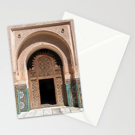 Ornate Archway Door in Marrakech, Morocco - Cream, White, Teal, Turquoise Mosaic Islamic Muslim Temple Architecture Doorway Door Arch Unique Entrance Stationery Cards