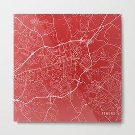 Athens Map, USA - Red Metal Print