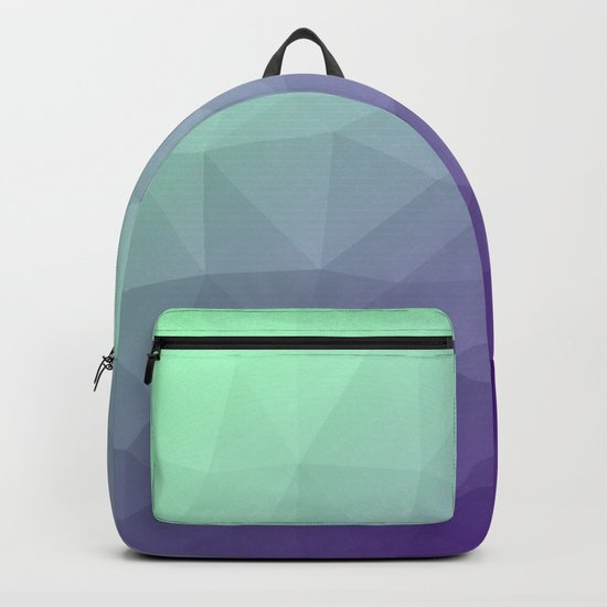 Purple green ombre gradient geometric mesh Backpack