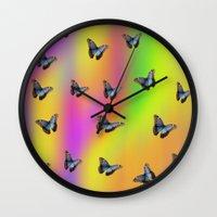 butterflies Wall Clocks featuring Butterflies by Fine Art by Rina