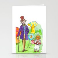 willy wonka Stationery Cards featuring Pure Imagination: Willy Wonka & Oompa Loompa by Michael Richey White by lost robot