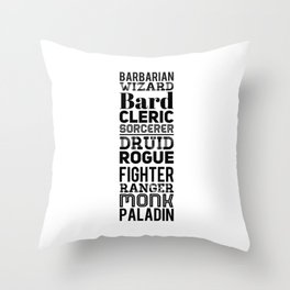 Character Classes Throw Pillow