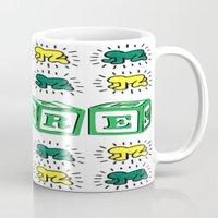 keith haring Mugs featuring PURE (Keith Haring Tribute) by Kerosene Bill