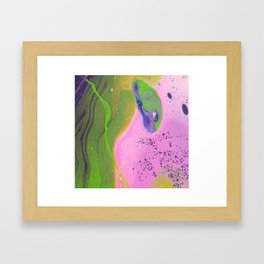 Fluid Art Acrylic Painting, Pour 30, Pink, Green & Purple White Blended Color Framed Art Print