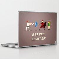 street fighter Laptop & iPad Skins featuring Pixel Art Street Fighter by LoweakGraph
