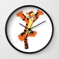 tigger Wall Clocks featuring Tigger by DanielBergerDesign