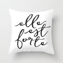 ELLE EST FORTE, Proverbs 31:25, She Is Strong,Scripture art,Bible Verse,Bible Scripture Throw Pillow