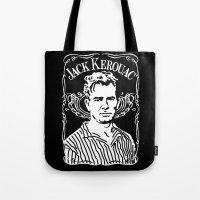 kerouac Tote Bags featuring Jack Kerouac by Josep M. Maya