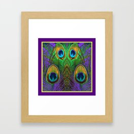 Purple-Green Golden Peacock Feathers Art Framed Art Print
