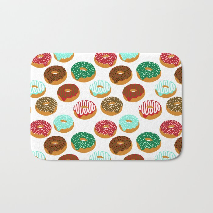 Christmas festive donuts holiday dessert junk food foodie pattern print red and green Bath Mat