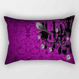 Bird & Purple Damask Sparkly Chandelier Silhouette Rectangular Pillow