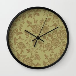 Rose tan and brown repeating pattern Wall Clock