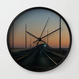 Bridge after sundown Wall Clock