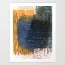 Blue Gold Grey Abstract Art Print
