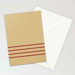 Beige and Red Thin 4 Stripe Pattern 2021 Color of the Year Satin Paprika and Sunlit Brass  Stationery Cards